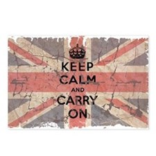 UK Flag with Keep Calm and Ca Postcards (Package o