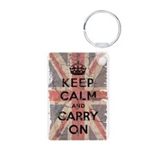 UK Flag with Keep Calm and Ca Aluminum Photo Keych