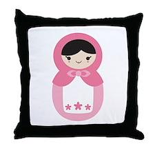 Matryoshka - Pink Throw Pillow