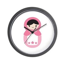 Matryoshka - Pink Wall Clock