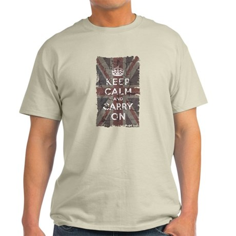 UK Flag with Keep Calm and Ca Light T-Shirt