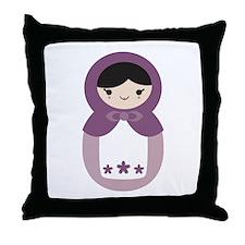 Matryoshka - Purple Throw Pillow