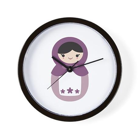 Matryoshka - Purple Wall Clock