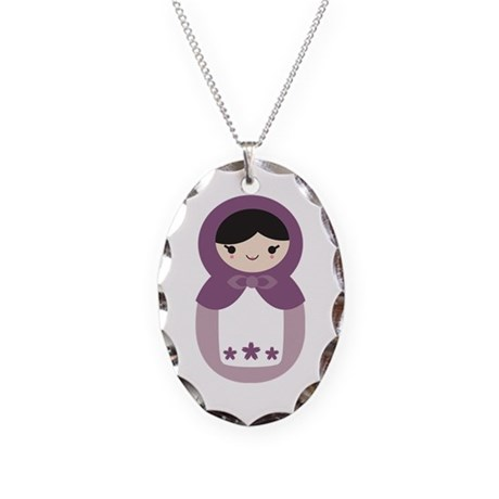 Matryoshka - Purple Necklace Oval Charm