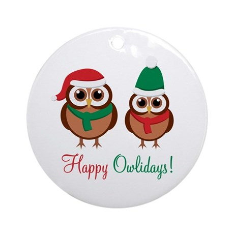 """Happy Owlidays"" Ornament (Round)"