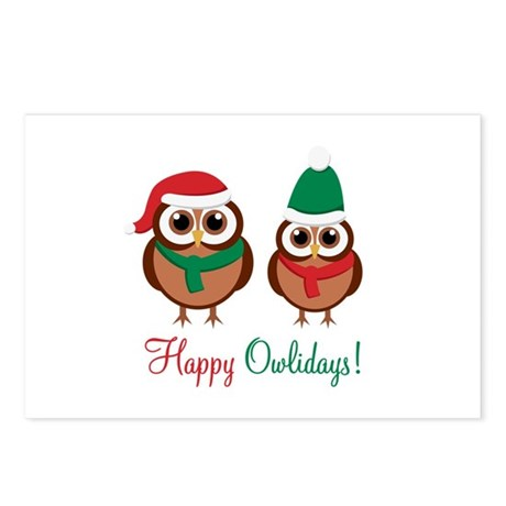 """""""Happy Owlidays"""" Postcards (Package of 8"""