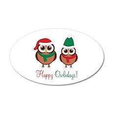 """Happy Owlidays"" 22x14 Oval Wall Peel"