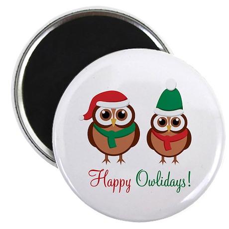 """Happy Owlidays"" 2.25"" Magnet (100"