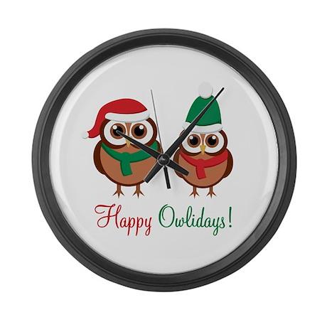 """Happy Owlidays"" Large Wall Clock"
