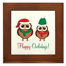 """""""Happy Owlidays"""" Framed Tile"""
