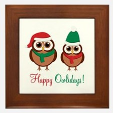 """Happy Owlidays"" Framed Tile"