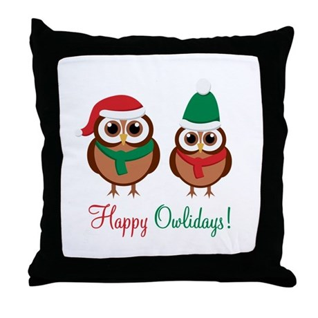 """Happy Owlidays"" Throw Pillow"