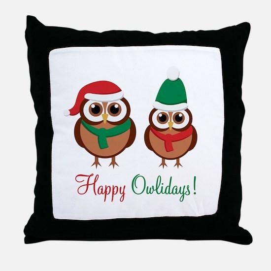 """Happy Owlidays"" Throw Pillow"