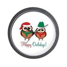 """Happy Owlidays"" Wall Clock"