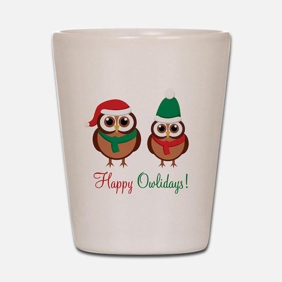 """""""Happy Owlidays"""" Shot Glass"""