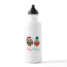 """""""Happy Owlidays"""" Water Bottle"""