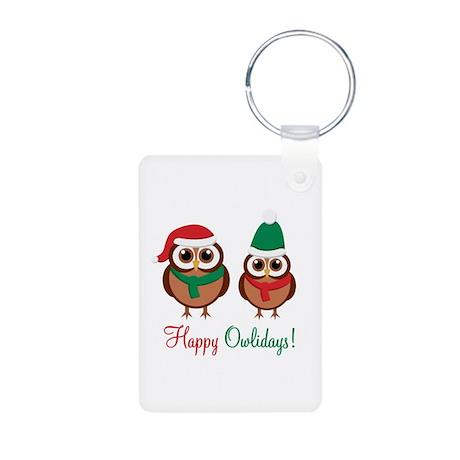 """Happy Owlidays"" Aluminum Photo Keychain"