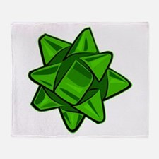 Dark Green Bow Throw Blanket