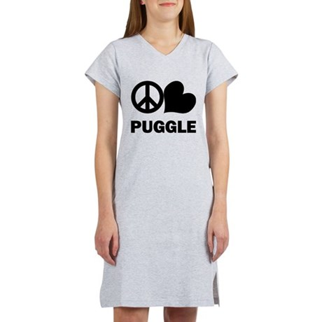 Peace Love Puggle Women's Nightshirt