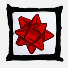 Dark Red Bow Throw Pillow