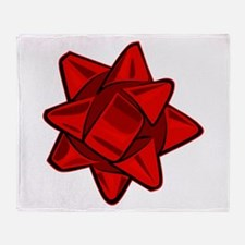 Dark Red Bow Throw Blanket