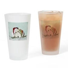 Fox Terrier Christmas Drinking Glass