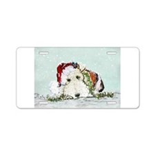 Fox Terrier Christmas Aluminum License Plate