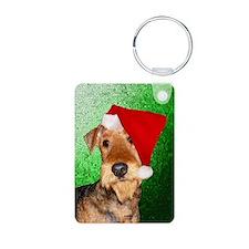 Airedale Terrier Christmas Aluminum Photo Keychain
