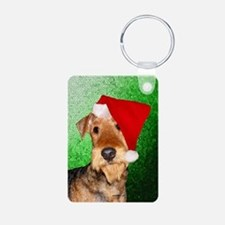 Airedale Terrier Christmas Aluminum Photo Keychain