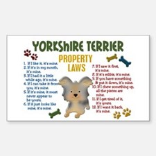 Yorkshire Terrier Property Laws 4 Decal