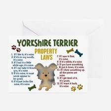 Yorkshire Terrier Property Laws 4 Greeting Cards (