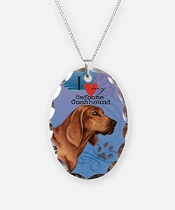 Redbone Coonhound Necklace Oval Charm