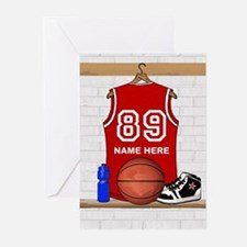 Personalized Basketball Jerse Greeting Cards (Pk o