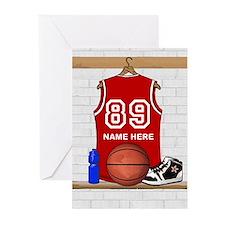 Personalized Basketball Jerse Greeting Cards (Pk o
