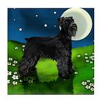 GIANT SCHNAUZER DOG FULL MOON Tile Coaster