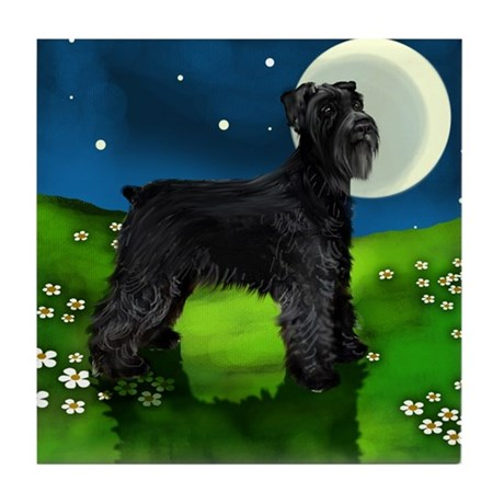 GIANT SCHNAUZER DOG FULL MOON Tile Coaster