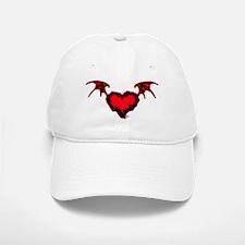 Jagged Red Heart W/ Bat Wings Baseball Baseball Cap
