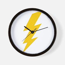 Yellow Thunderbolt Wall Clock