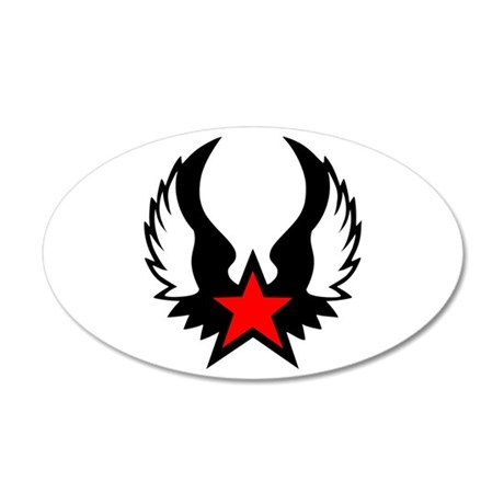 Winged Red Star 22x14 Oval Wall Peel