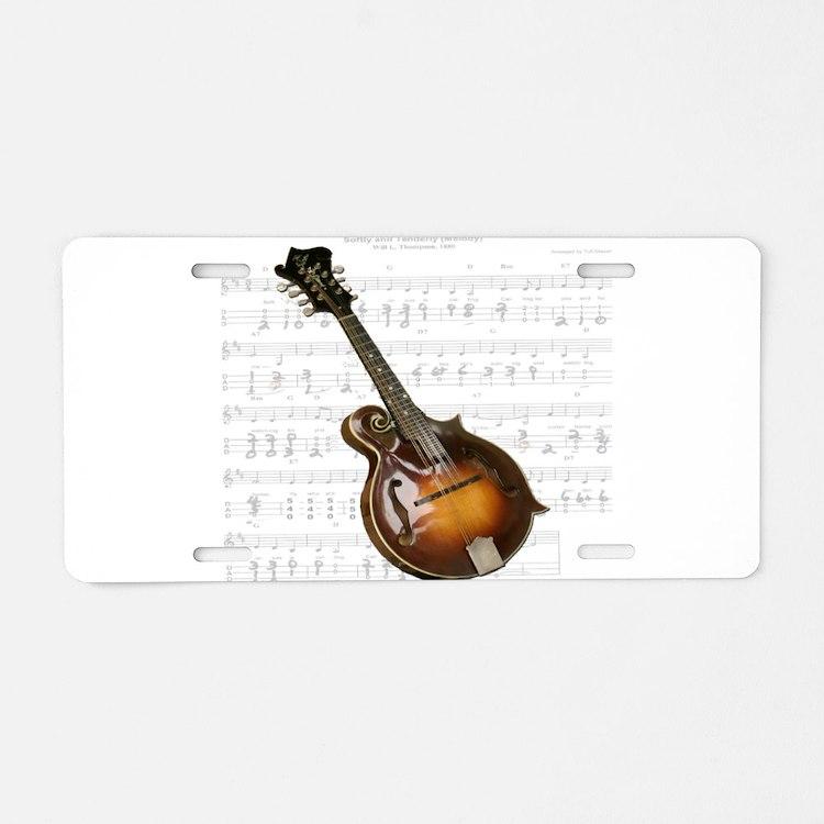 Mandolin and Sweet Music Aluminum License Plate