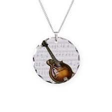 Mandolin and Sweet Music Necklace Circle Charm