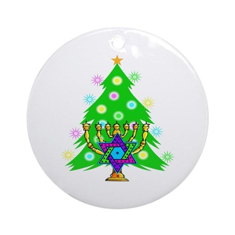 Hanukkah and Christmas Families Ornament (Round)