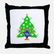Hanukkah and Christmas Families Throw Pillow