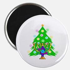 "Hanukkah and Christmas Families 2.25"" Magnet (10 p"