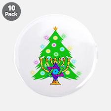 "Hanukkah and Christmas Families 3.5"" Button (10 pa"
