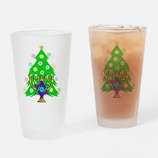 Hanukkah and Christmas Families Drinking Glass