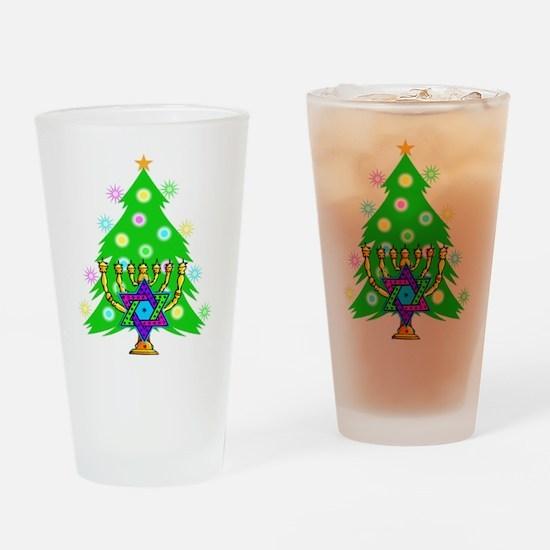 Hanukkah and Christmas Families Drinking Glass