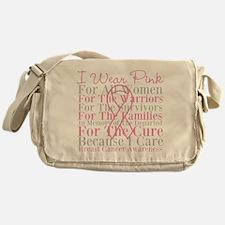 I Wear Pink Breast Cancer Messenger Bag