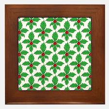Holly Fleur de lis Framed Tile