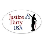 Justice Party oval bumper sticker